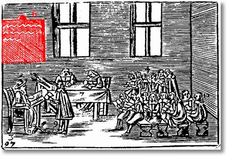 """Klassenzimmer mit Schultafel bzw. Schreibtafel in Johann Amos Comenius' """"Orbis sensualium pictus"""""""