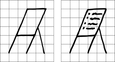"""Visualisierung eines Flipcharts mit und ohne """"Bullet Points"""""""