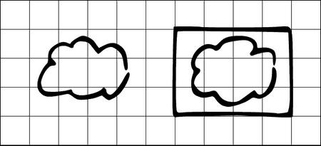 Private und public cloud - visualisiert auf Flipchart oder Whiteboard