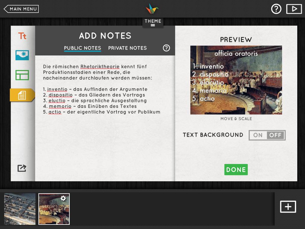 """Haiku-Deck-2.1 - Der """"public notes""""-Editor auf dem iPad"""
