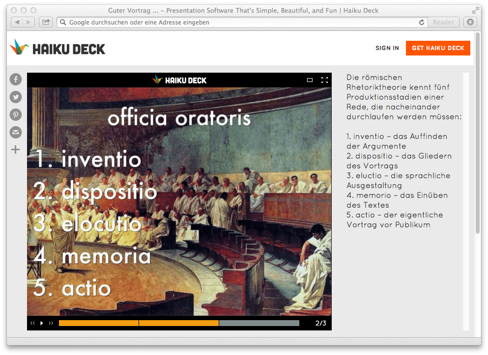 """Haiku-Deck-2.1 - """"public notes""""-Darstellung beim Betrachten im Web Browser"""