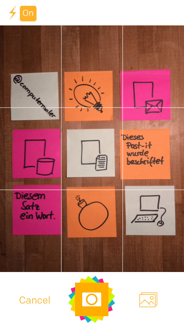 Post-it Plus App - Beispiel 1.1 - Post-its fotografieren