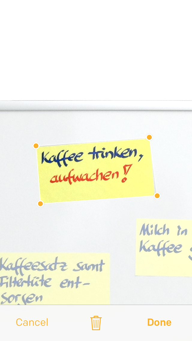 Post-it Plus App - Beispiel 2.2 - nicht-quadratische Post-its manuell selektieren
