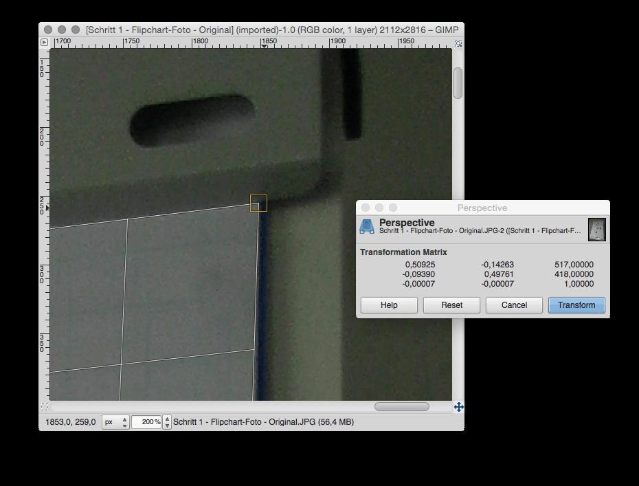 Schritt 1.3 - Whiteboard- oder Flipchart-Foto - Perspektive (vergrößert)