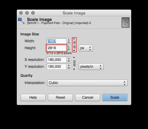 Schritt 2 - Whiteboard- oder Flipchart-Foto - skalieren anhand des Seitenverhältnisses