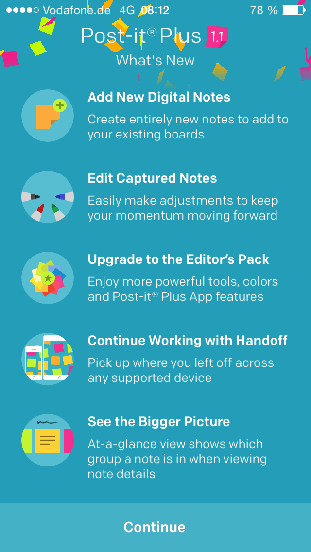 Post-it Plus App - Neues in Version 1.1