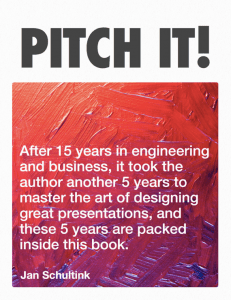 "Jan Schultink: ""Pitch It!""– Titelseite"