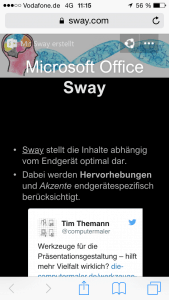 Microsoft Office Sway am mobilen Endgerät