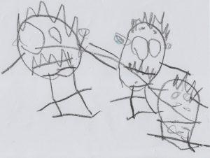 Kinderzeichnung - Kopffüßler - Familie