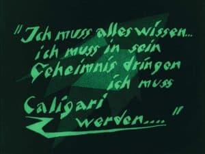 Zwischentitel kurz vor Ende des V. Aktes des deutschen Stummfilms Das Cabinet des Dr. Caligari