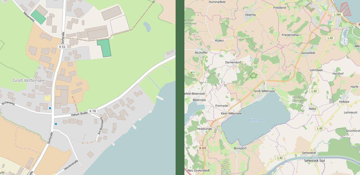 Generalisierung - Grundkarte vs. Straßenkarte