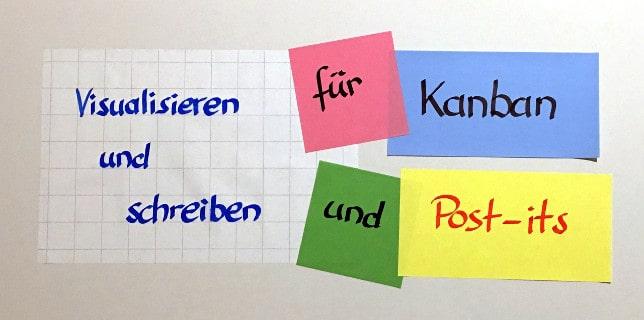 Visualisieren und schreiben für Kanban und Post-its