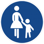Sonderweg Fußgänger– eine Frau mit Rock und Kind