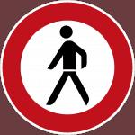 Verbot für Fußgänger– ein laufender Mann