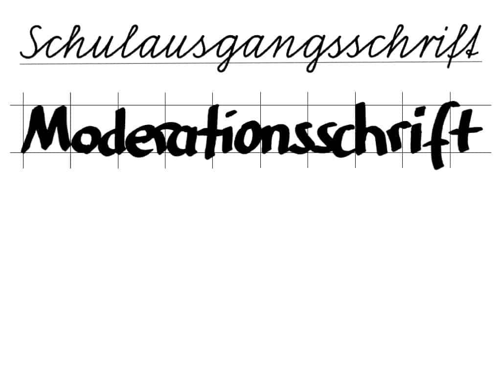 """""""Schöner"""" schreiben am Flipchart (3)– Schulausgangsschrift vs. Moderationsschrift"""