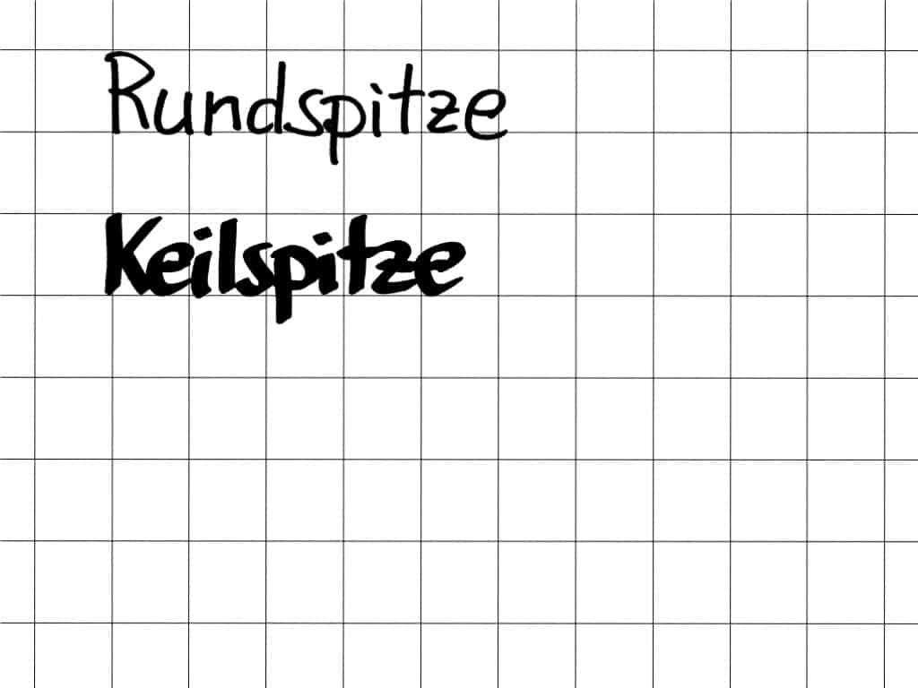 """""""Schöner"""" schreiben am Flipchart (5)– Keilspitze vs. Rundspitze– Schriftbild"""